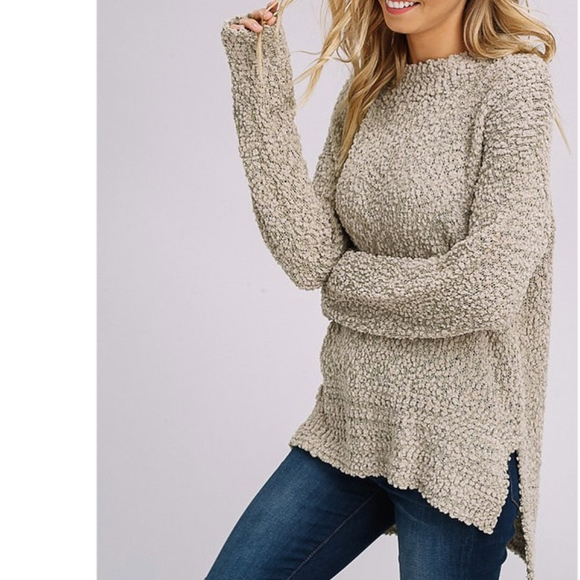 LAST ONE! NEW Popcorn Pullover Sweater Light Olive Boutique